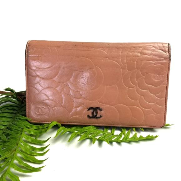 CHANEL Handbags - Chanel Camellia Light Pink Lambskin Wallet
